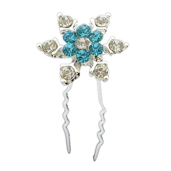 Zircon Alloy Floral Hairpin - BLUE