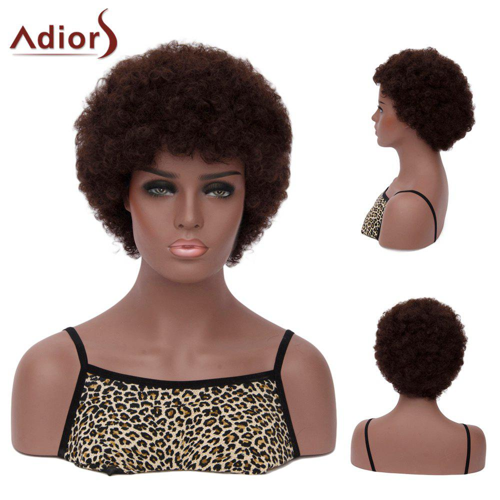 Adiors Hair Neat Bang Short Afro Curly Synthetic WigHair<br><br><br>Color: DEEP BROWN