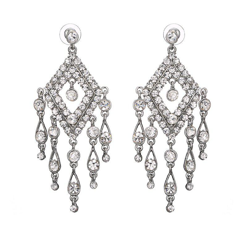 Geometric Chandelier Rhinestone Earrings - SILVER