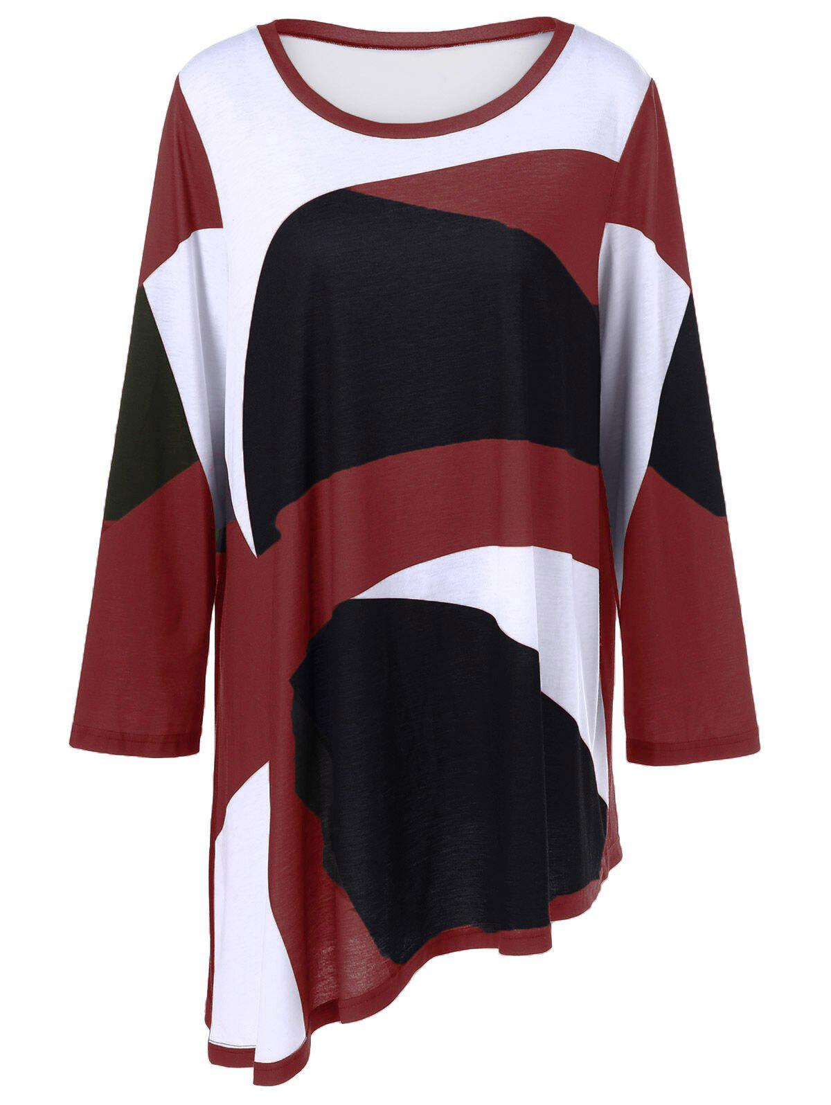 Plus Size Abstract Print Asymmetrical T-Shirt - RED 5XL