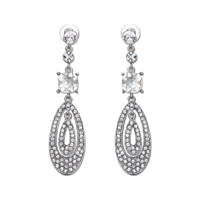 Rhinestone Teardrop Oval Earrings - SILVER