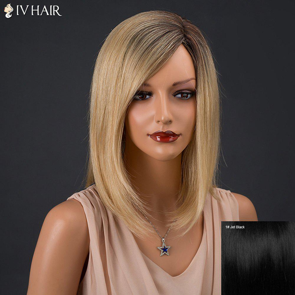 Inclined Parting Medium Colormix Silky Straight Siv Human Hair Wig - JET BLACK