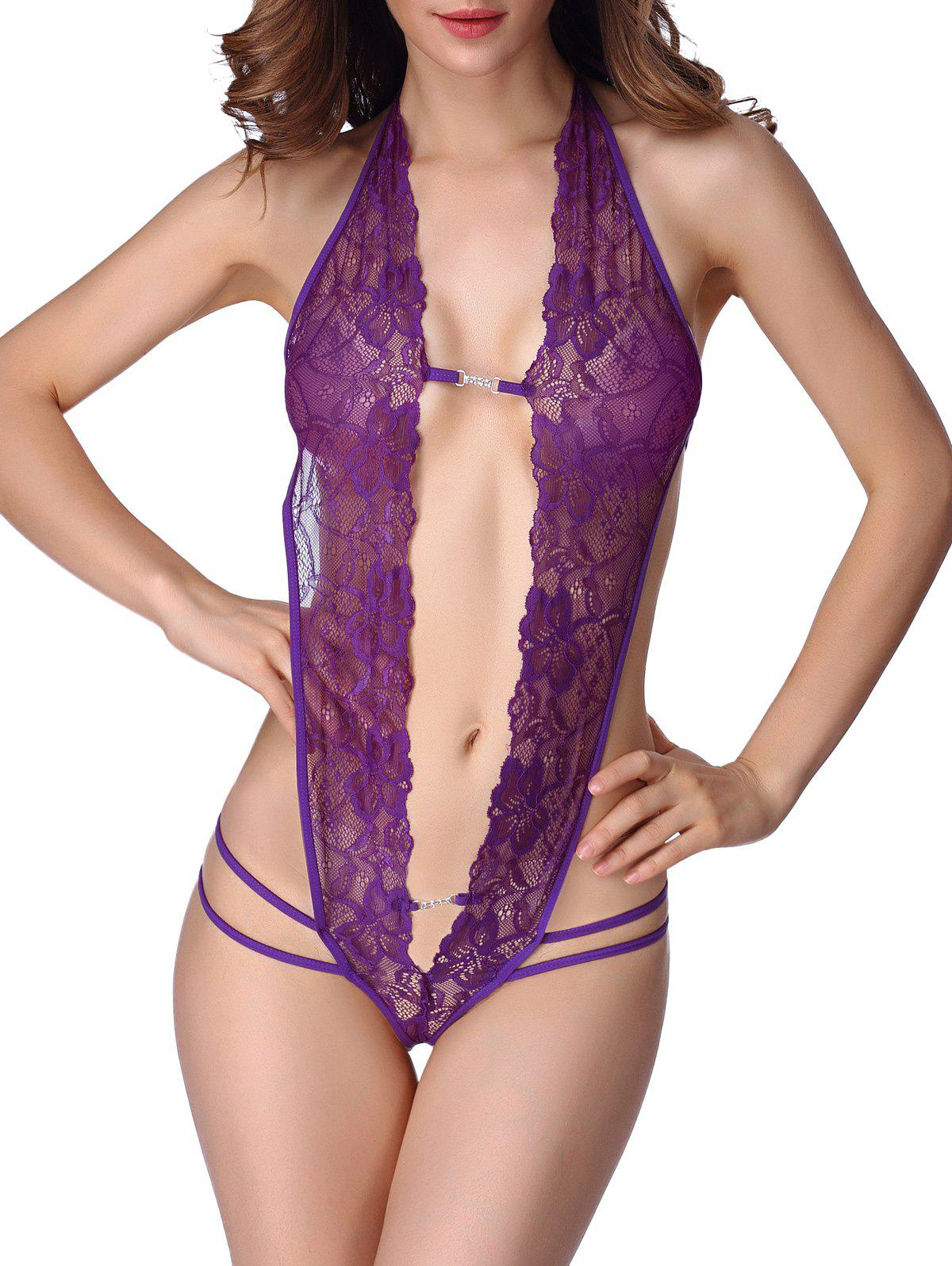 Backless Halter Cut Out Lace Teddy - PURPLE S