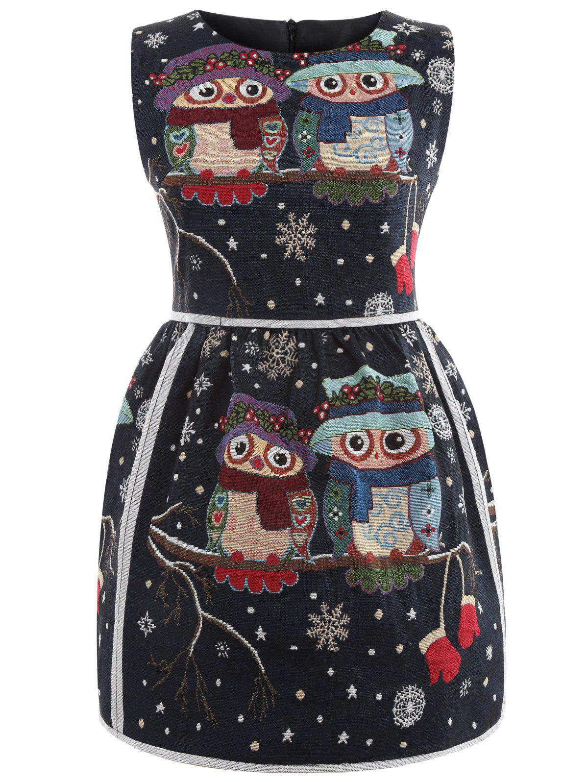 Sleeveless Owl Graphic Fit and Flare Dress - BLACK S