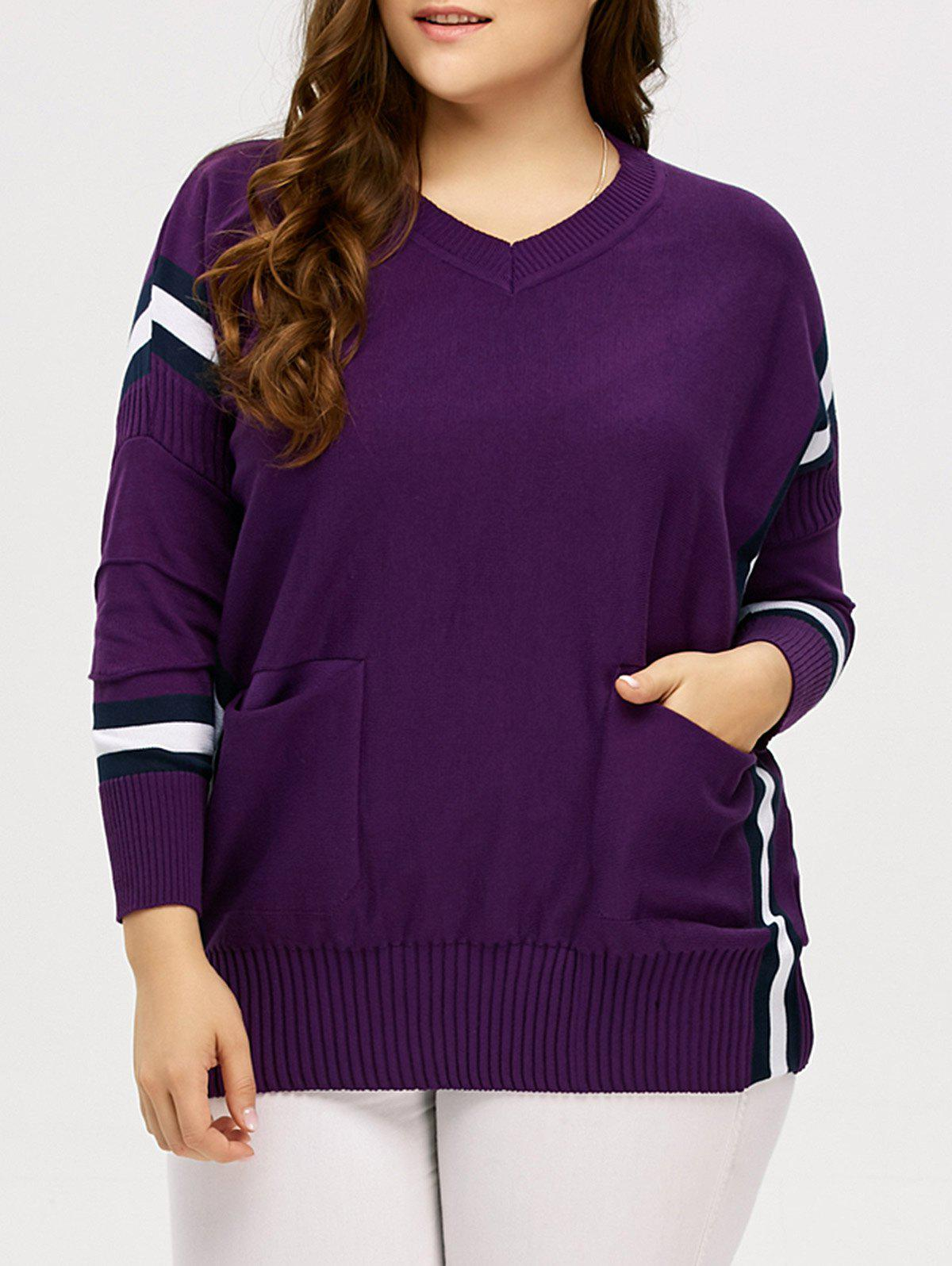 Plus Size Striped Trim Pockets Knitwear - PURPLE L