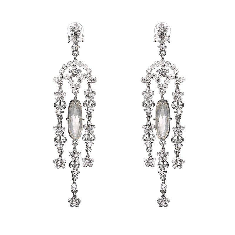 Vintage Rhinestoned Flower Chandelier Earrings - SILVER