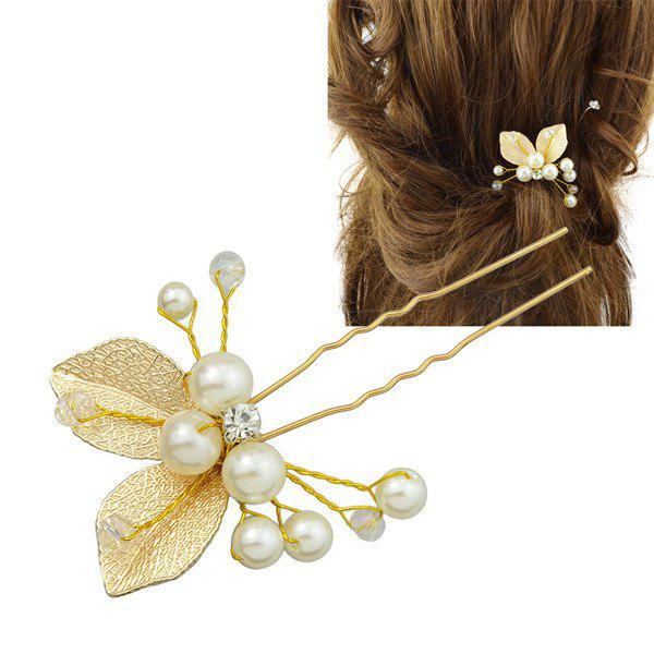 Buy Rhinestone Faux Pearl Leaf Hairpin GOLDEN