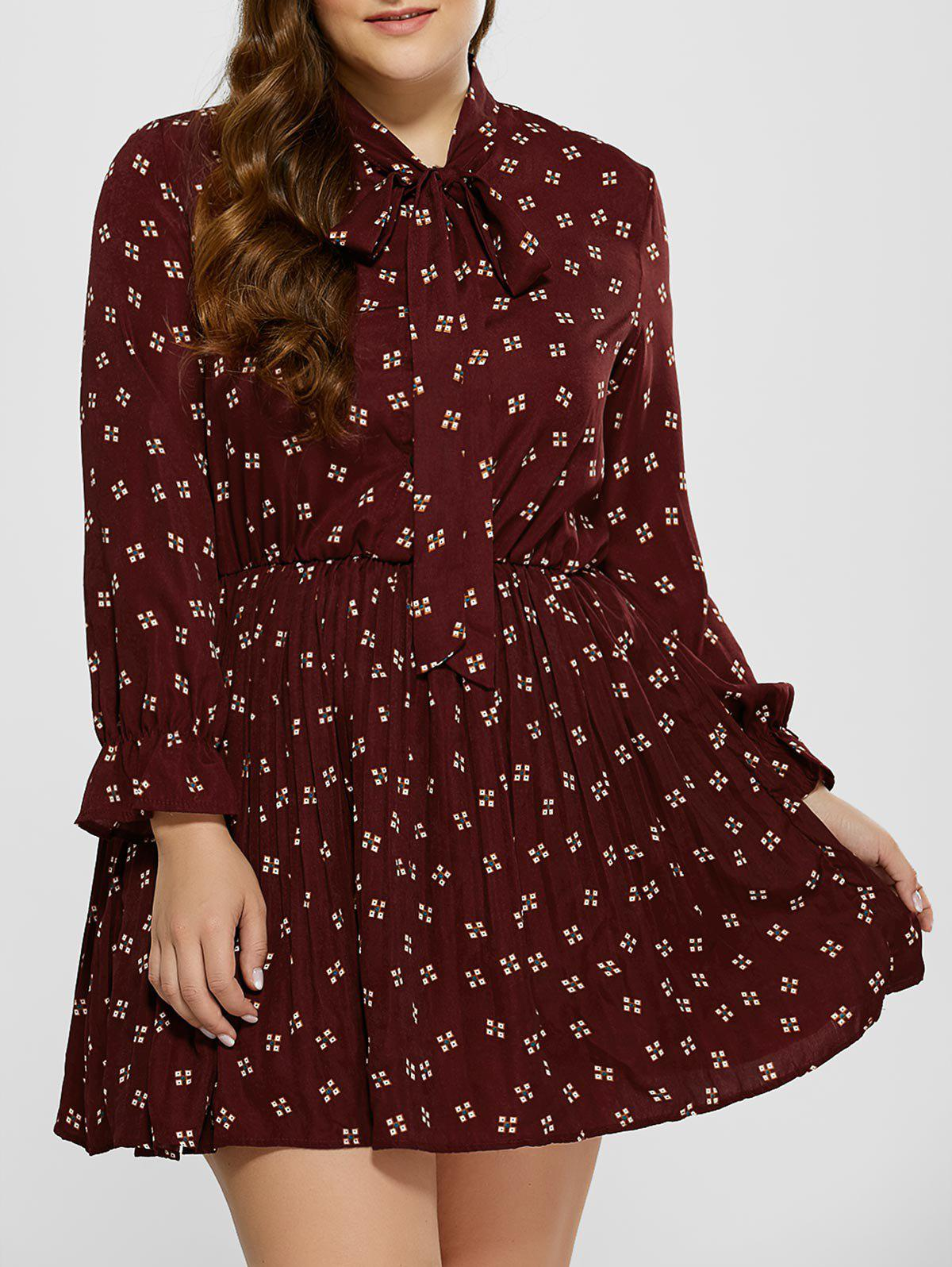 2018 Plus Size Printed Pussy Bow Dress Wine Red Xl In Dresses 2018
