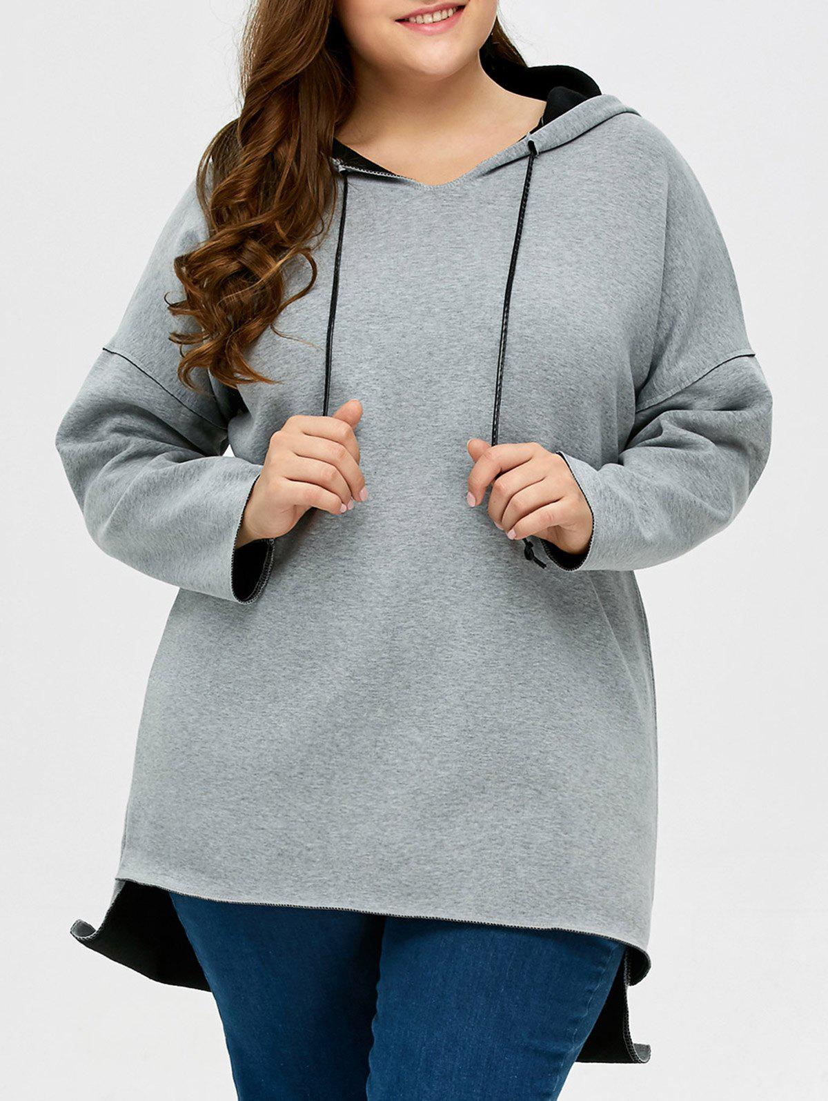 2018 Plus Size High Low Pullover Hoodie LIGHT GREY XL In Plus Size ...