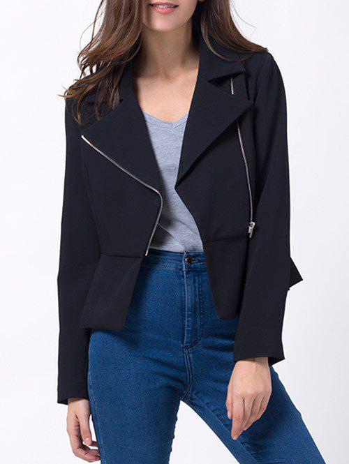 Asymmetrical Zip Up Peplum Blazer - BLACK L