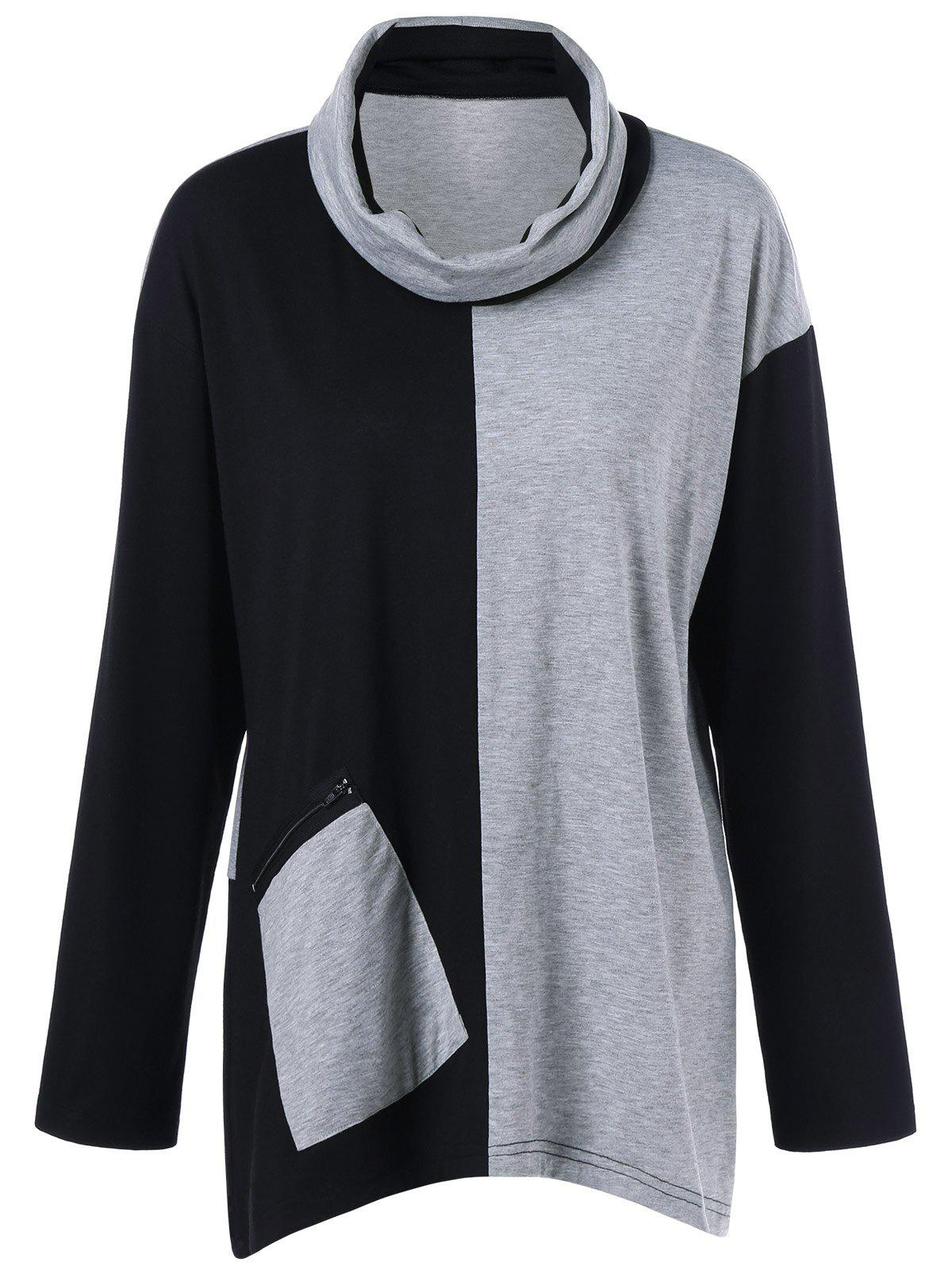 Plus Size Cowl Neck Zip Pocket T-Shirt plus size colorblock cowl neck t shirt