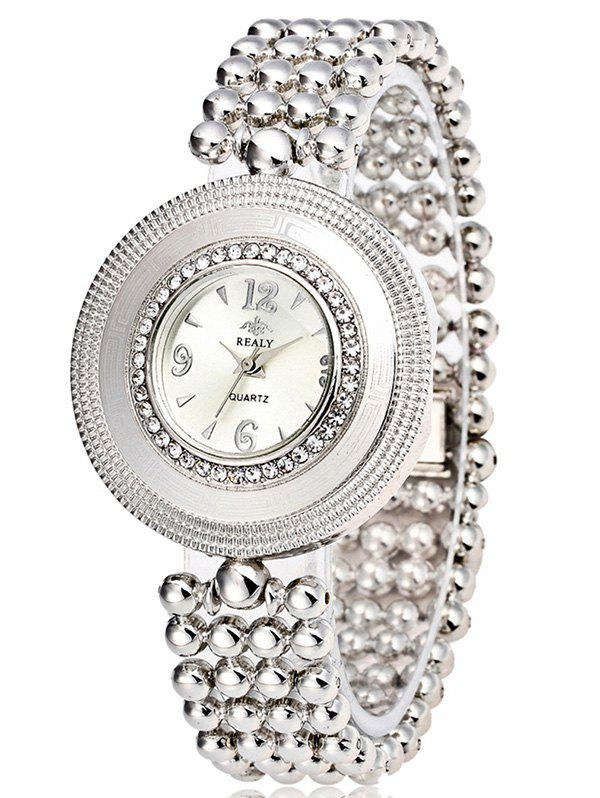 Big Dial Plate Beads Bracelet WatchWatches<br><br><br>Color: SILVER