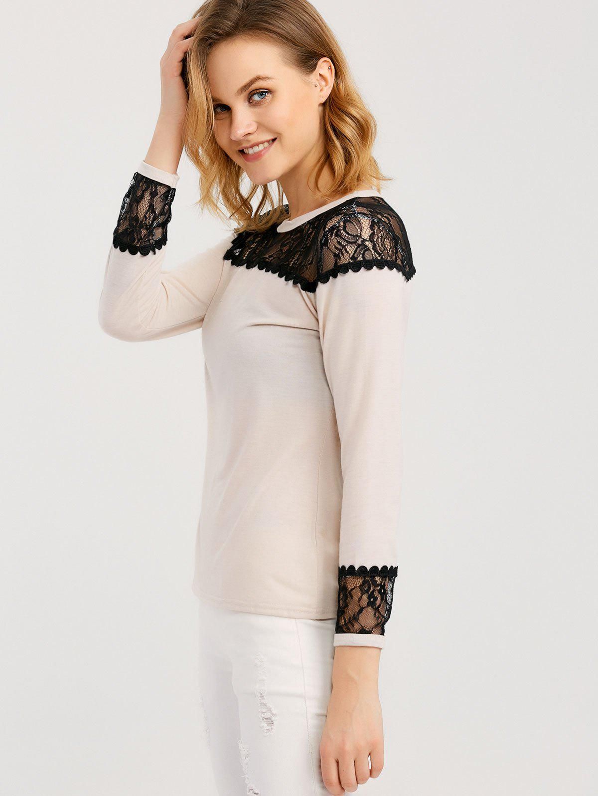 Long Sleeve T Shirt With Lace Trim - APRICOT XL