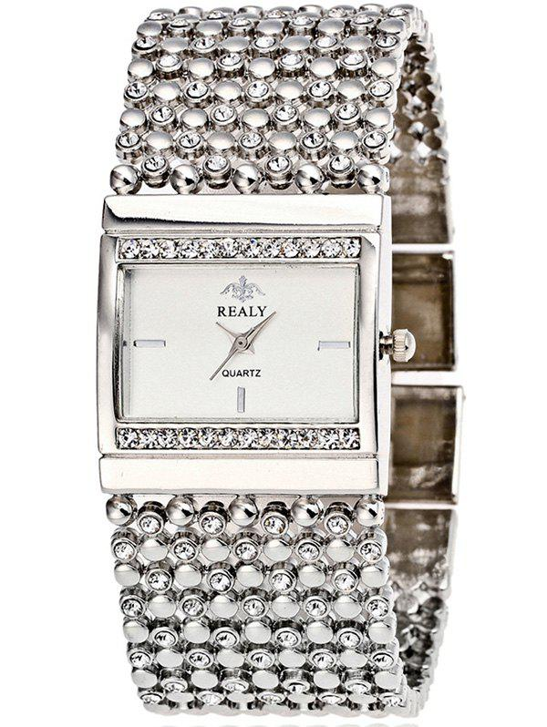 Rhinestoned Geometric Bracelet WatchWatches<br><br><br>Color: SILVER