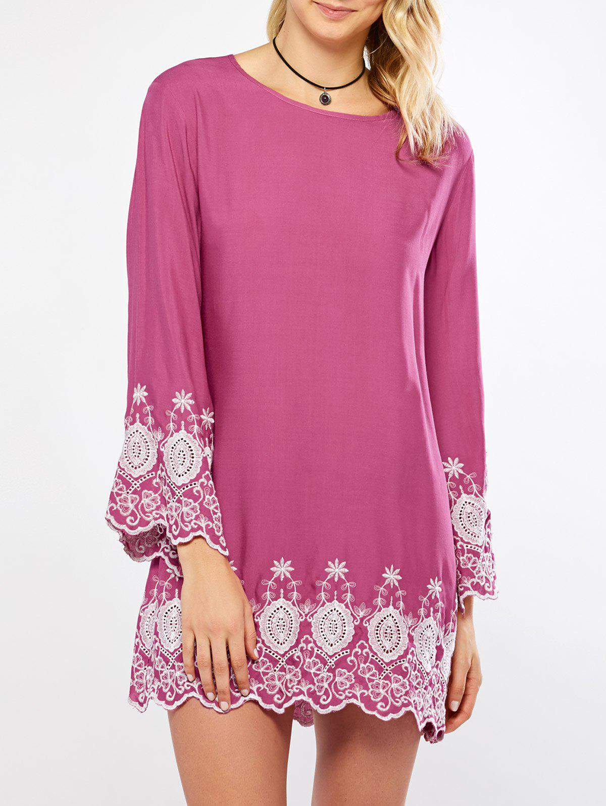 Buy Flare Sleeve Embroidery Mini Dress HOT PINK