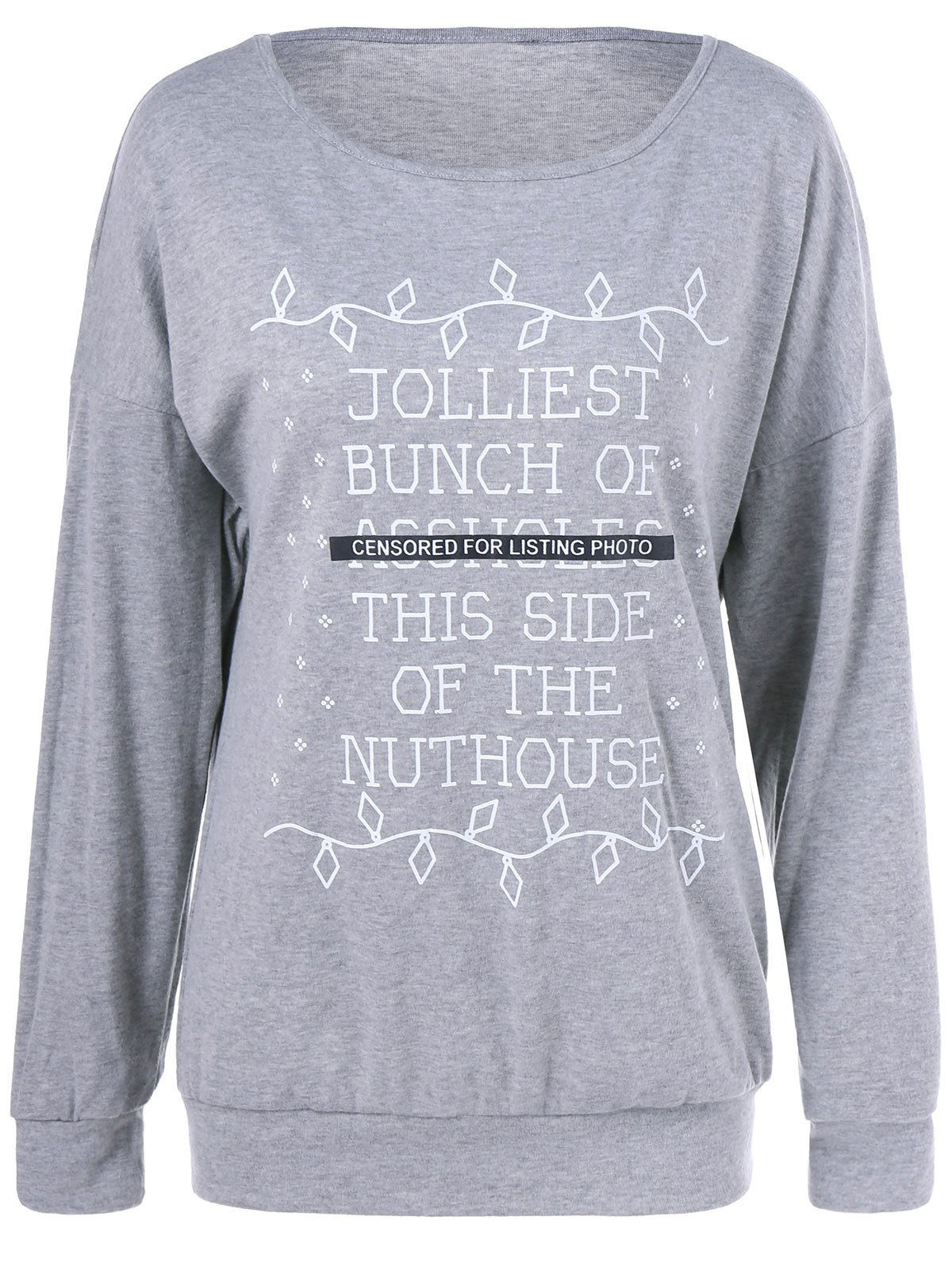 Graphic Patterned Sweatshirt - GRAY XL