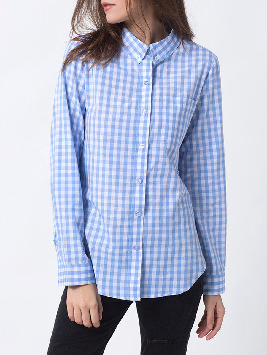 Gingham Check Pocket ShirtWomen<br><br><br>Size: XL<br>Color: BLUE AND WHITE