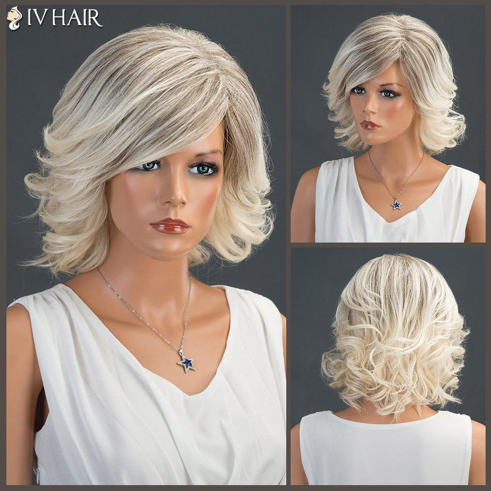Tail Upwards Short Colormix Layered Fluffy Side Parting Siv Human Hair Wig - COLORMIX