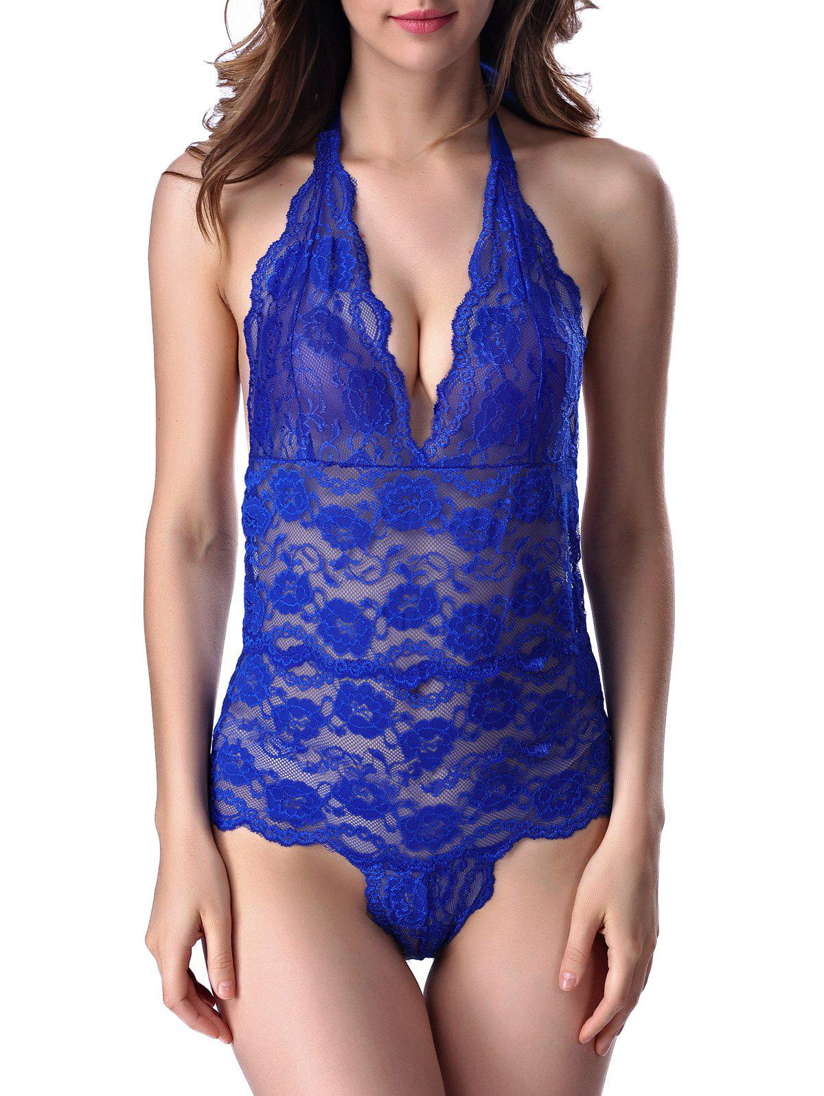 Halter Open Back Lace Teddy - BLUE S