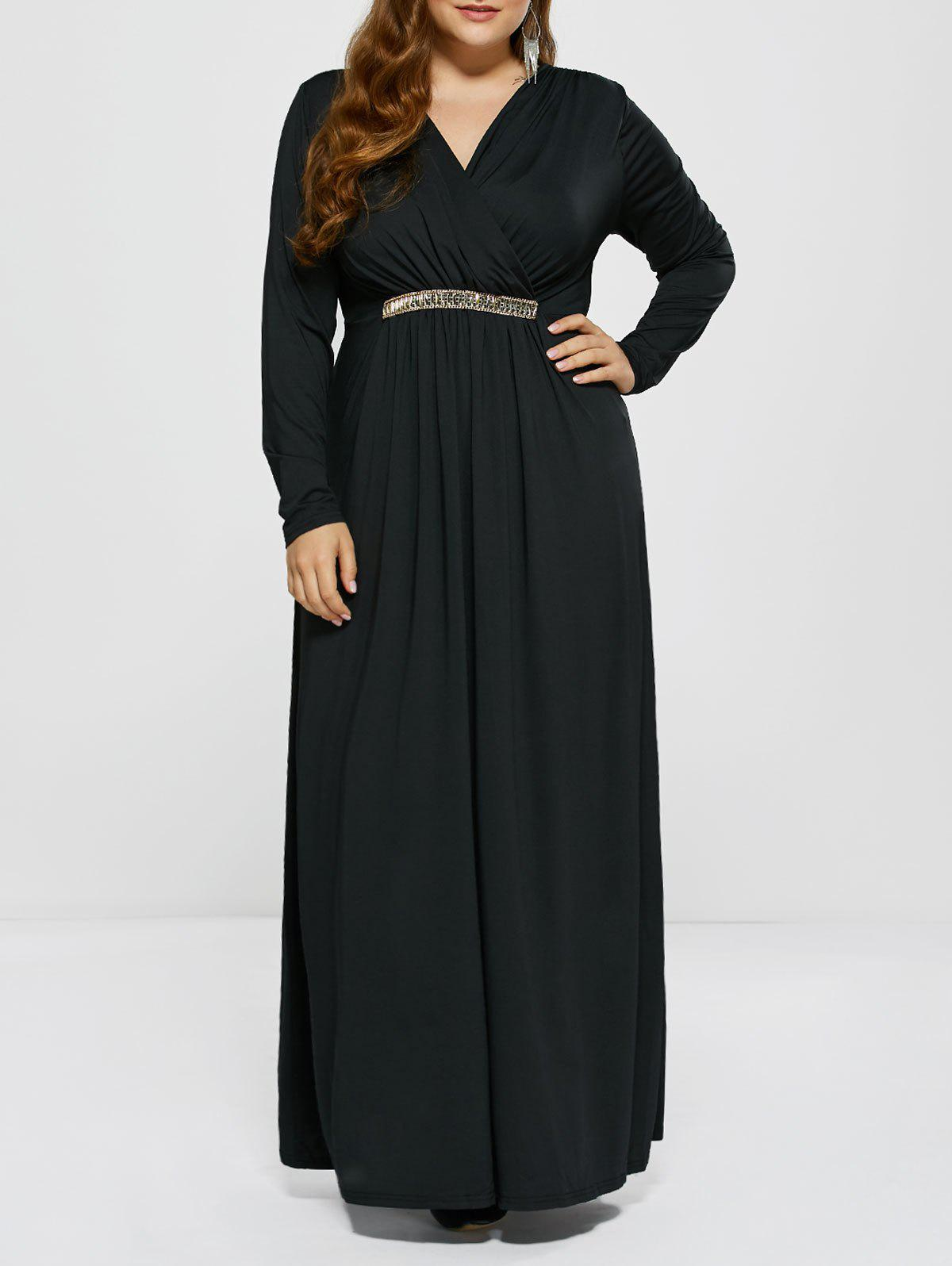 Plus Size Long Sleeve Surplice Prom Dress - BLACK L