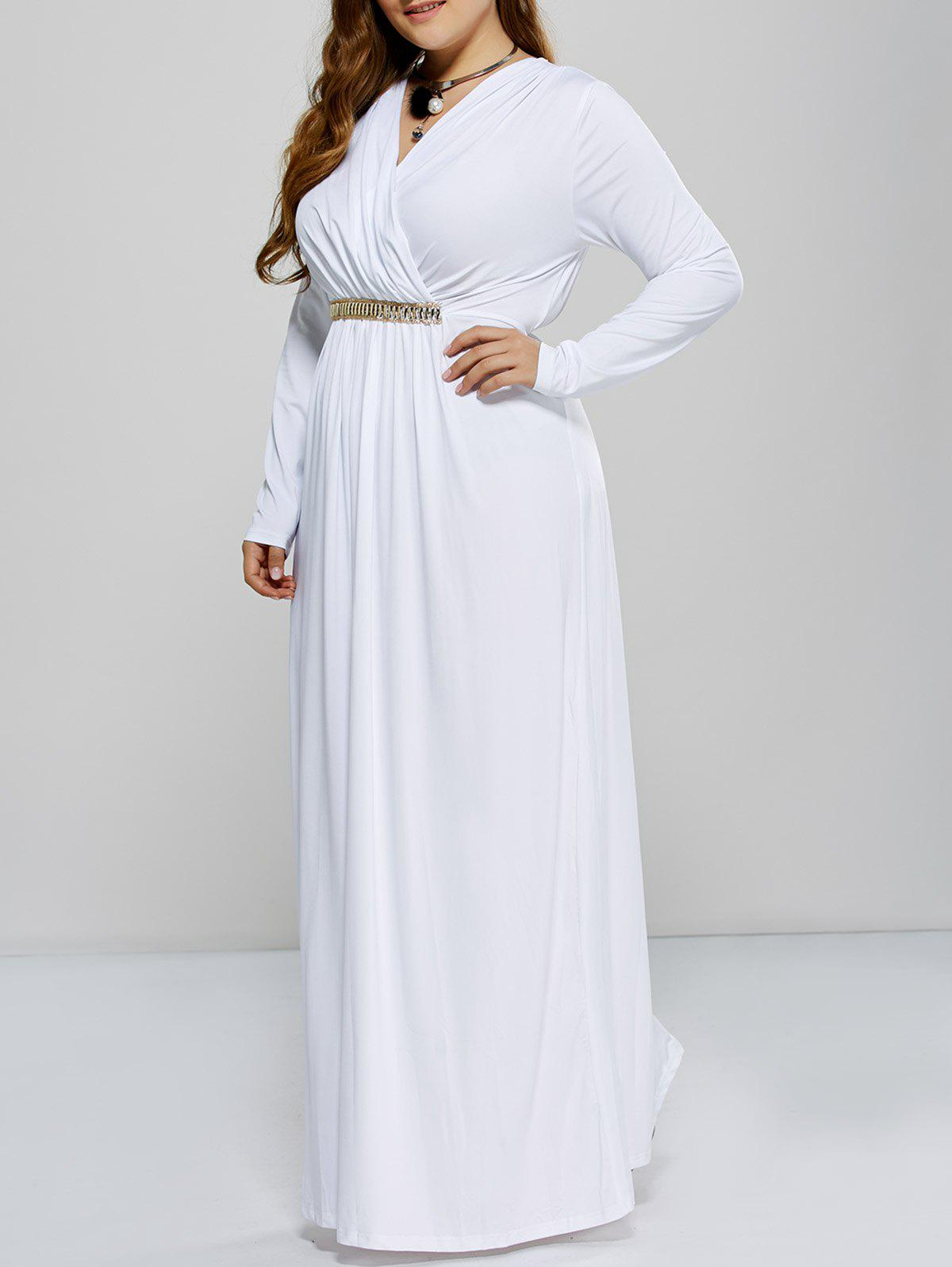 Plus Size Long Sleeve Surplice Prom Dress - WHITE L