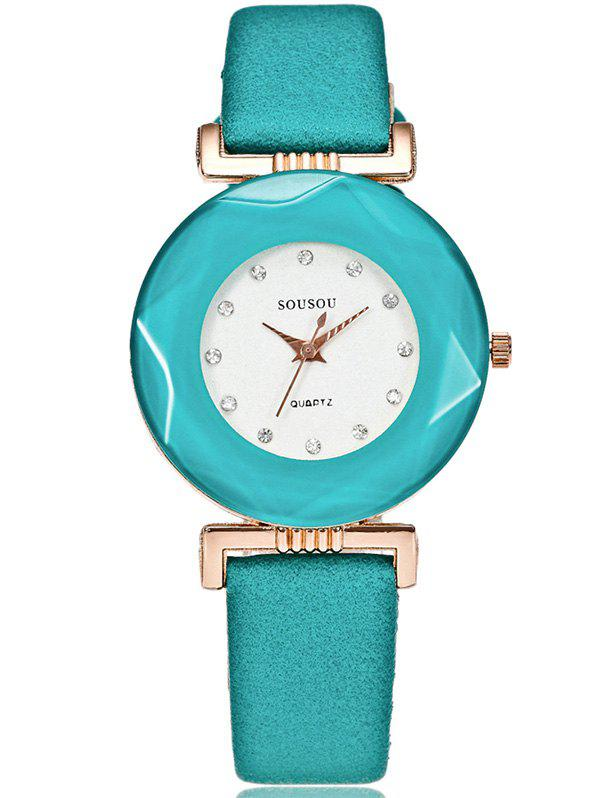 Faux Leather Rhinestone Casual Watch - GREEN