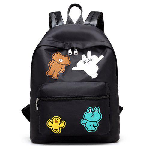 Nylon Cartoon Patches Backpack - BLACK