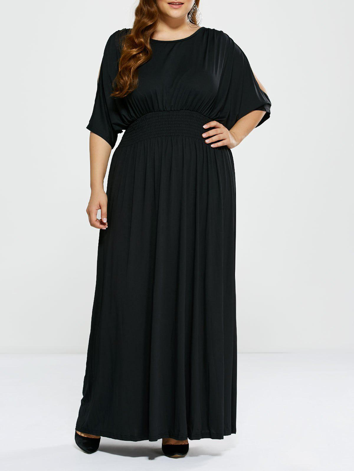 Plus Size Long Cold Shoulder Maxi Prom Dress - BLACK 3XL