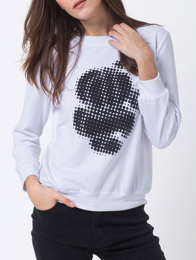 Dot Print Sweatshirt - WHITE L