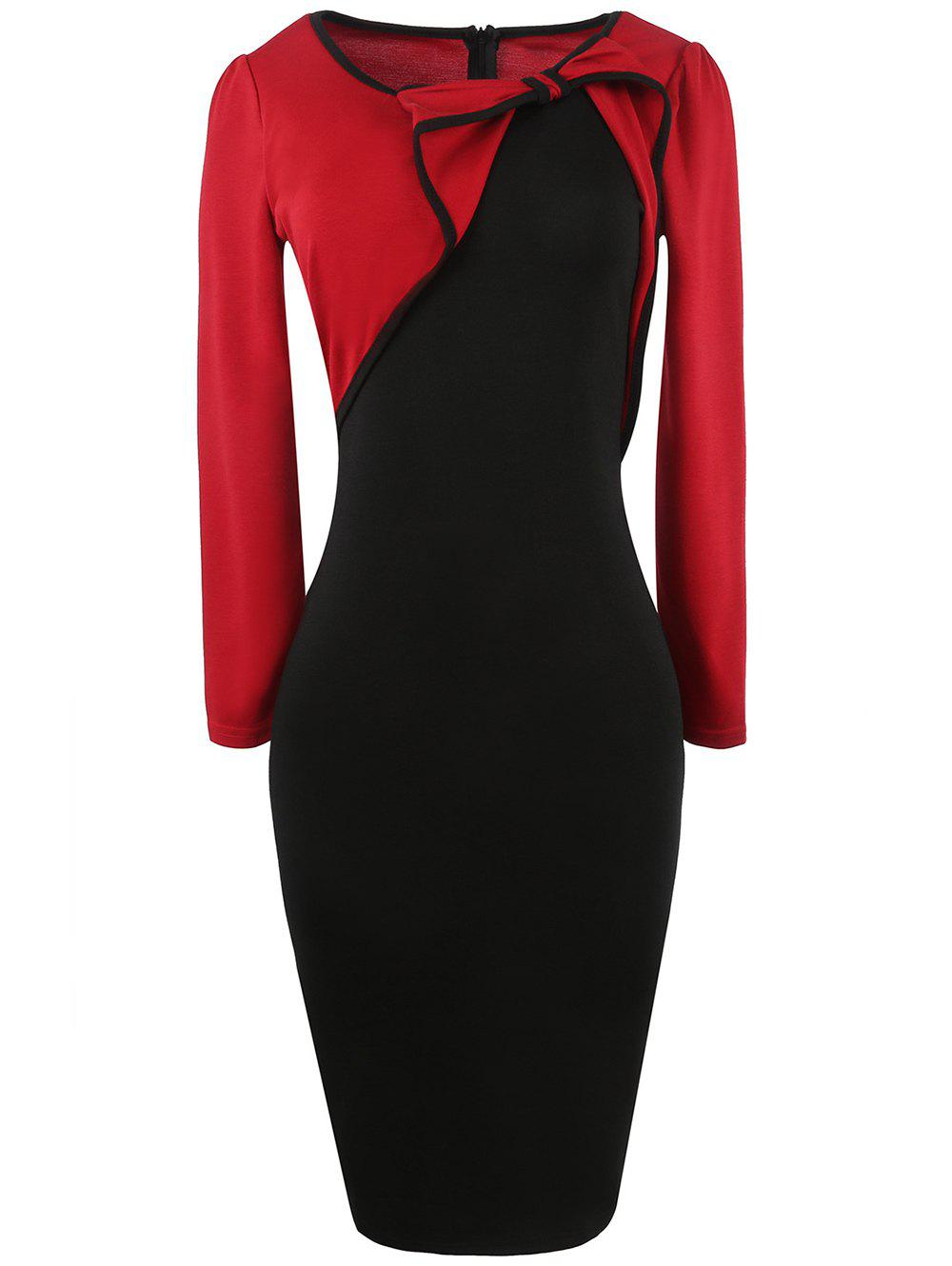 Long Sleeve Bowknot Color Block Pencil Dress - RED S