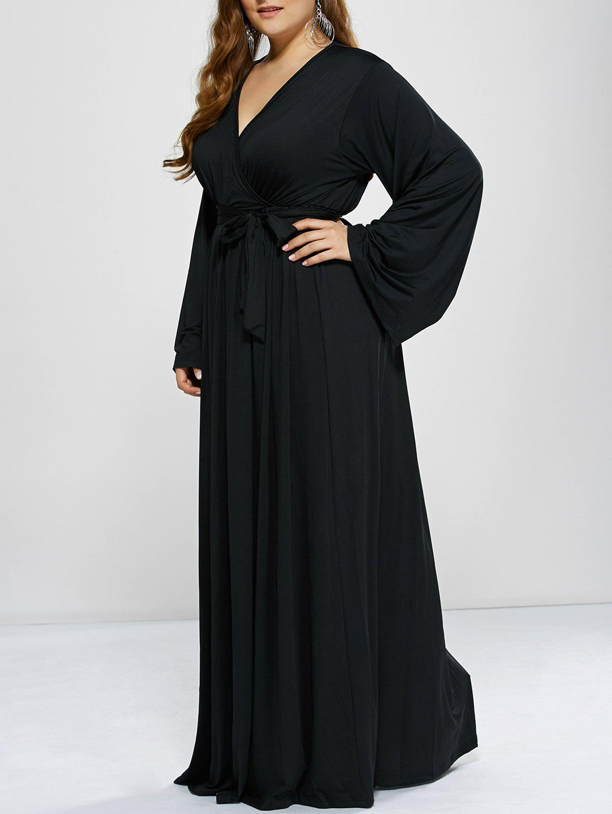 Plus Size Long Sleeve Modest Maxi Formal Dress - BLACK L