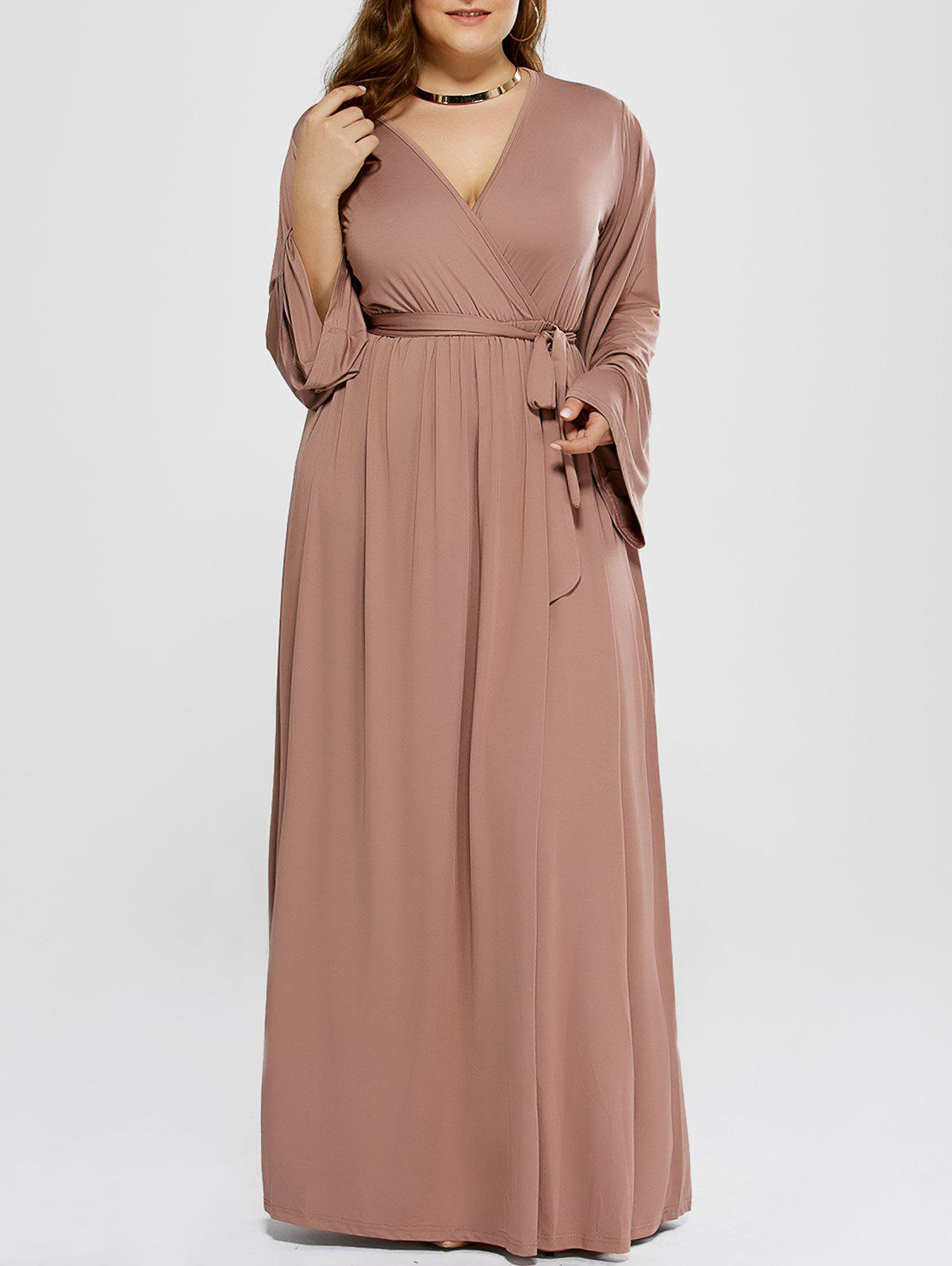 2018 Plus Size Long Sleeve Modest Maxi Formal Dress Khaki Xl In