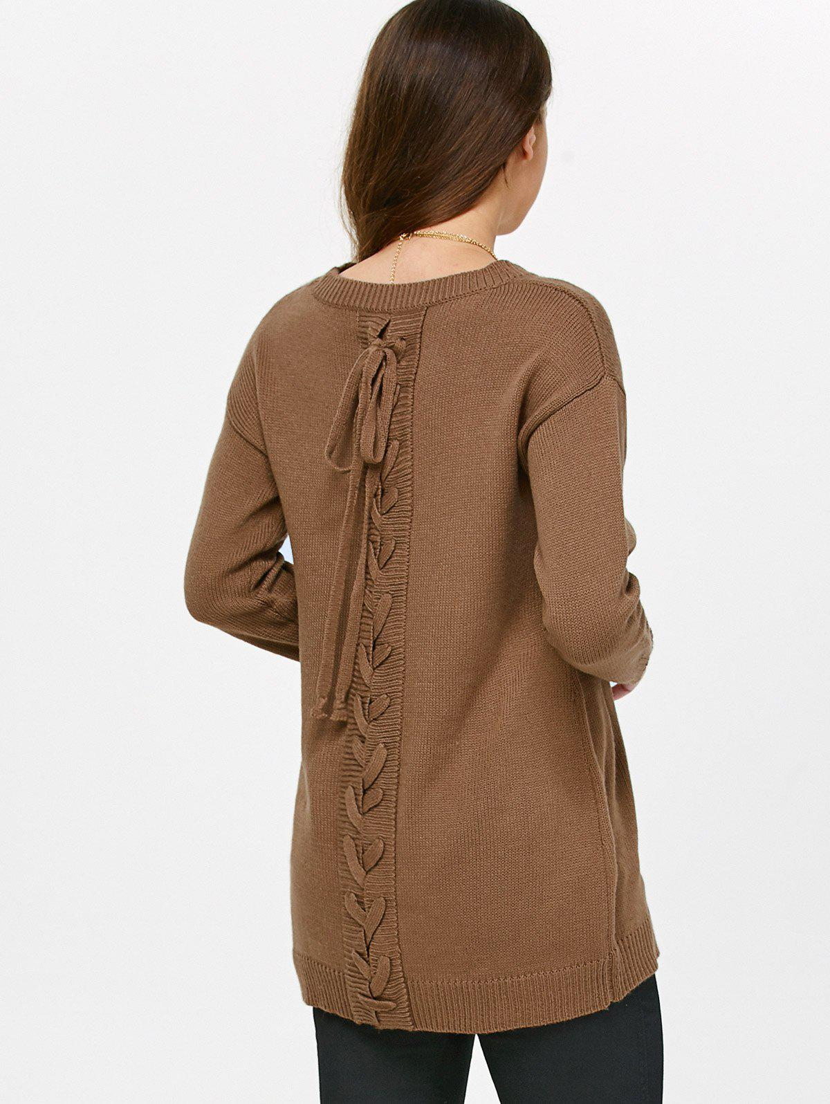 Drop Shoulder Lace-Up Sweater lace up hoop deor drop shoulder sweatshirt