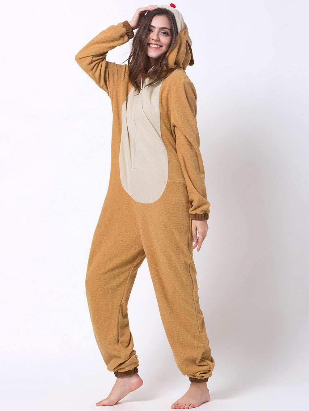 Hooded Cartoon Reindeer Animal Cosplay Pajamas - ORANGE M