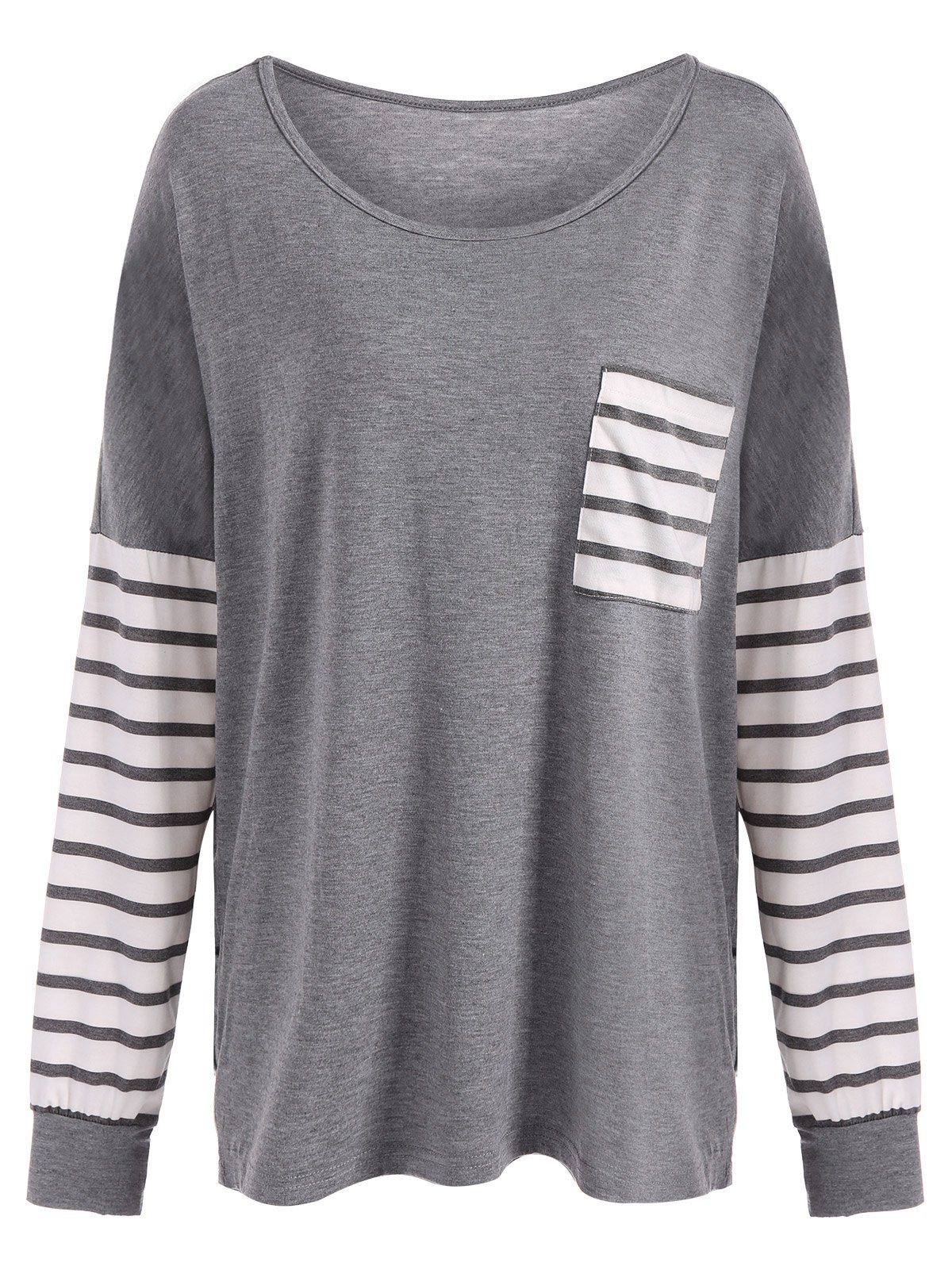 Drop Shoulder Stripe Pocket T-Shirt - GRAY S