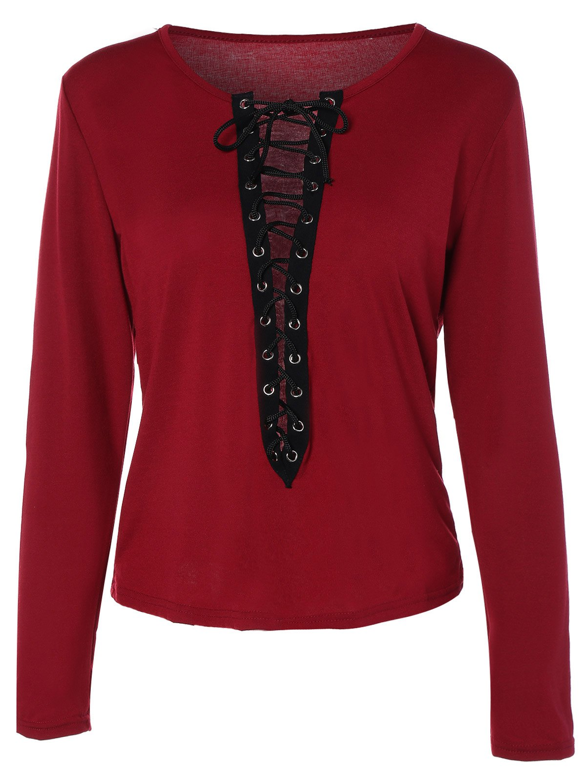 Long Sleeve Criss Cross Plunging Neck T-ShirtWomen<br><br><br>Size: S<br>Color: WINE RED