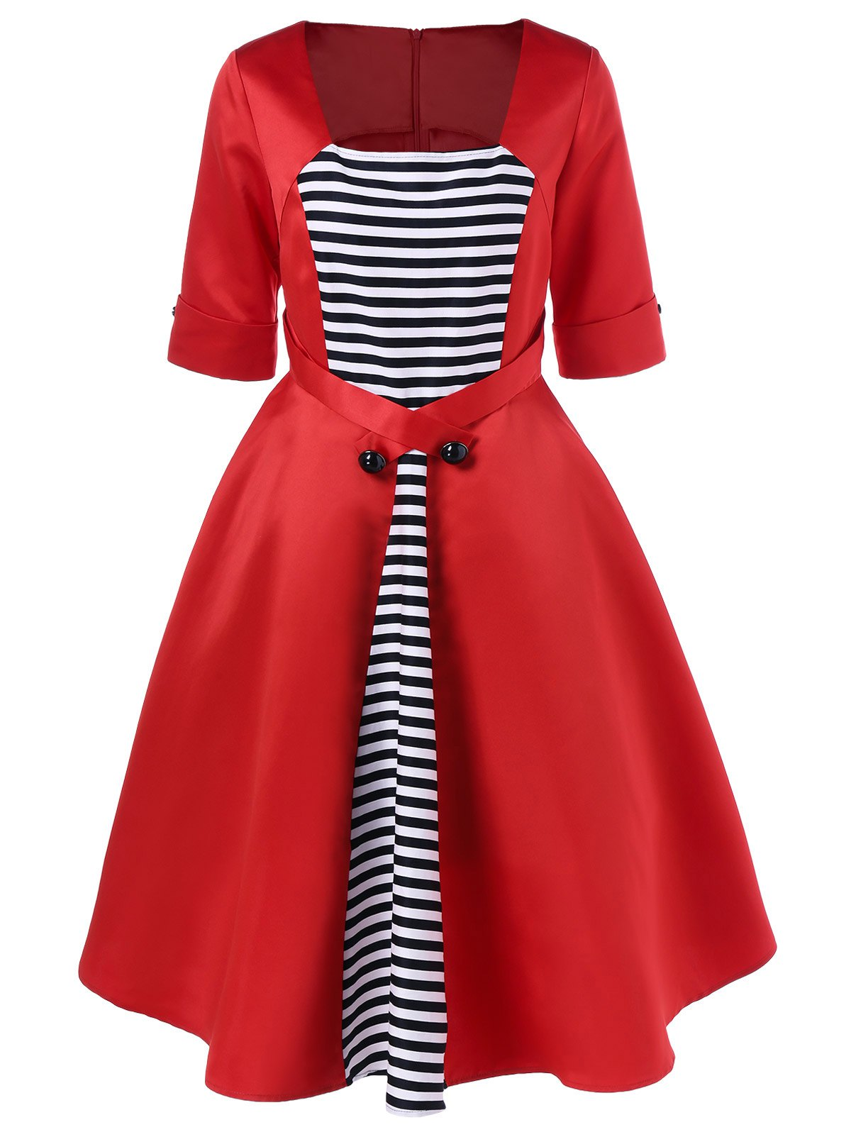 Midi Vintage Dress With Striped - RED M