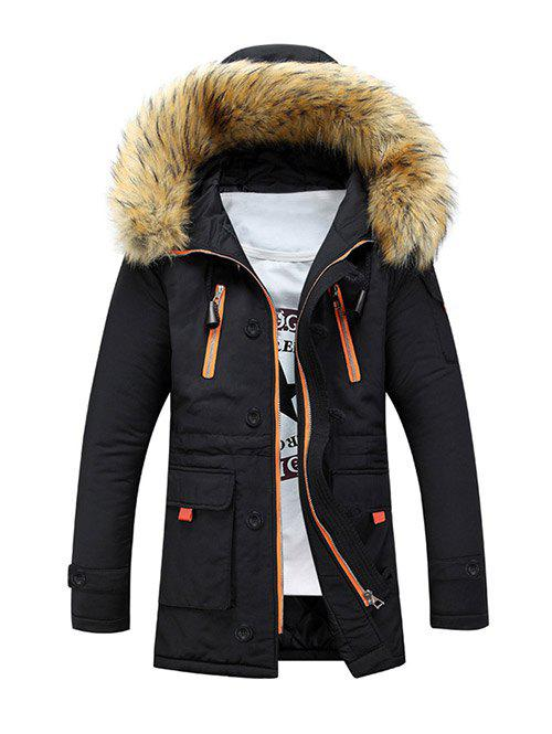 Multi-Pocket Faux Fur Hooded Zip Up Padded Coat dark green fur hooded lace up thickened padded coat