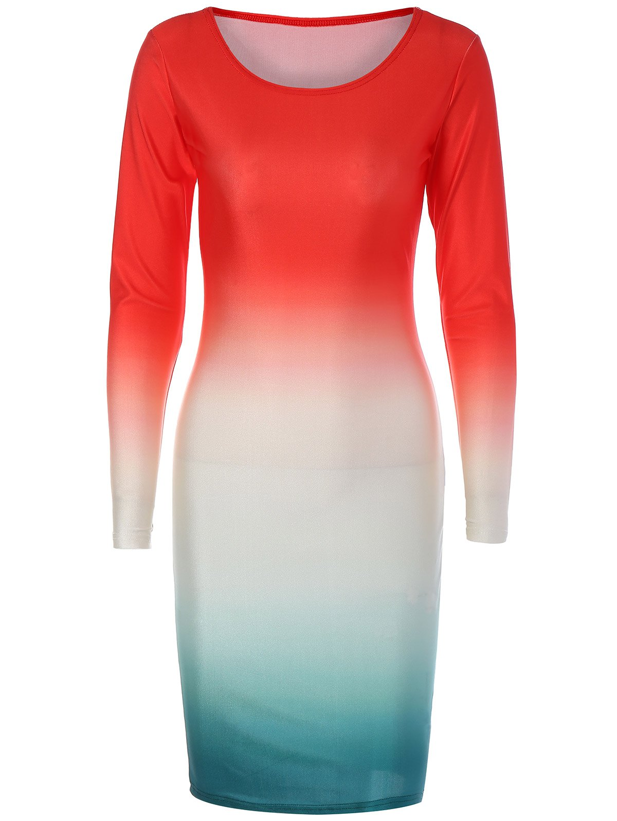 Long Sleeve Ombre Slimming Dress - RED S