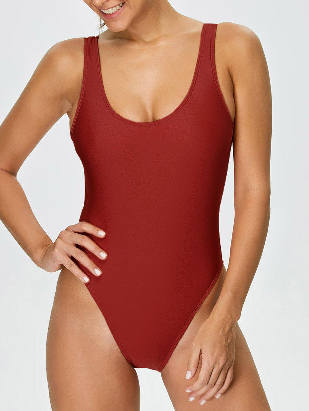 Backless High Cut One-piece Swimwear - RED L