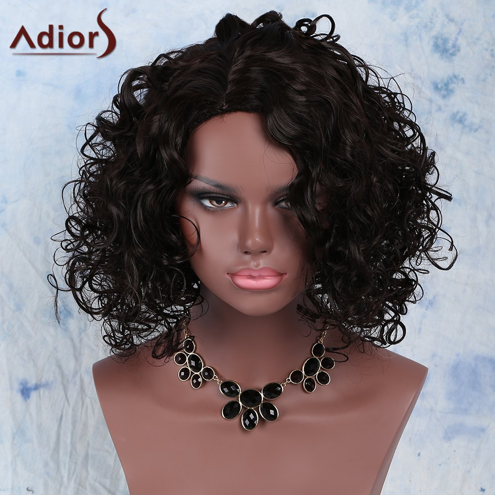 Stunning Dark Brown Medium Capless Afro Curly Synthetic Wig For Women - DEEP BROWN