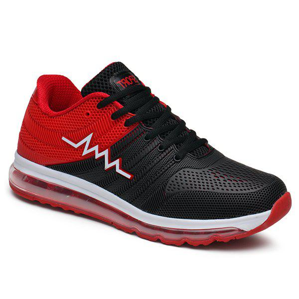Color Block Air Cushion Mesh Athletic Shoes - RED 44