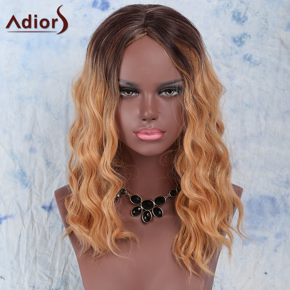 Trendy Synthetic Women's Medium Curly Gold Blend Centre Parting Wig - COLORMIX