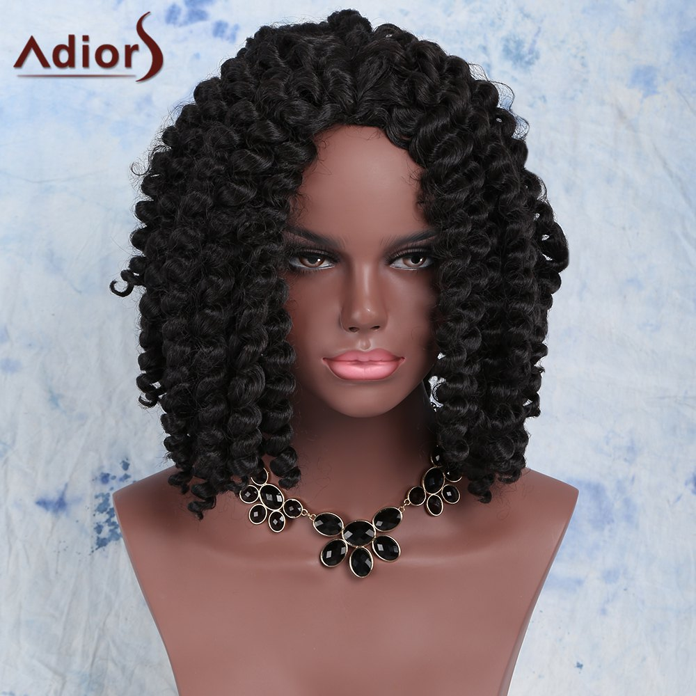 Fashion Women's Short Dark Brown Afro Curly Synthetic Hair Wig