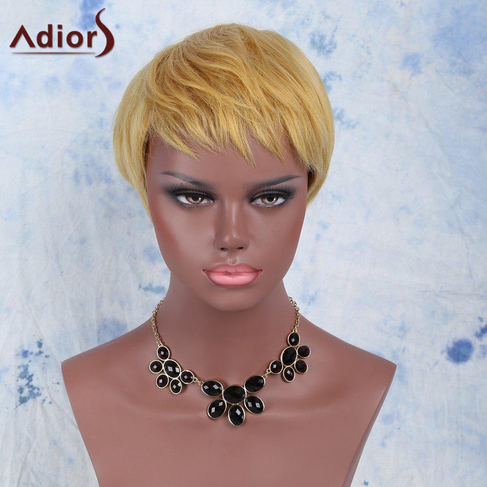 Golden Mixed Fashion Short Pixie Cut Straight Side Bang Synthetic Wig - COLORMIX