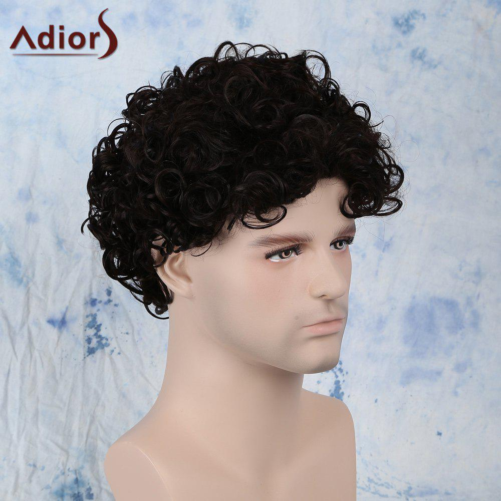 Fluffy Short Side Bang Curly Synthetic Capless Wig - BLACK BROWN