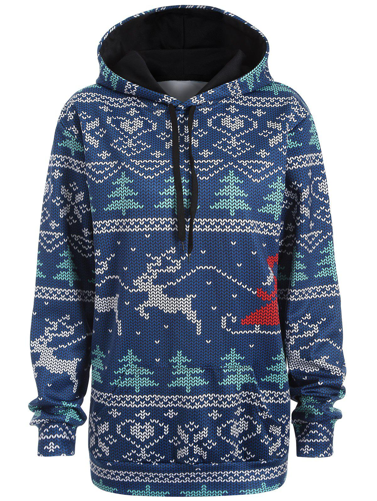 Plus Size Christmas Drawstring Kangaroo Pocket Patterned Hoodies - NAVY BLUE L