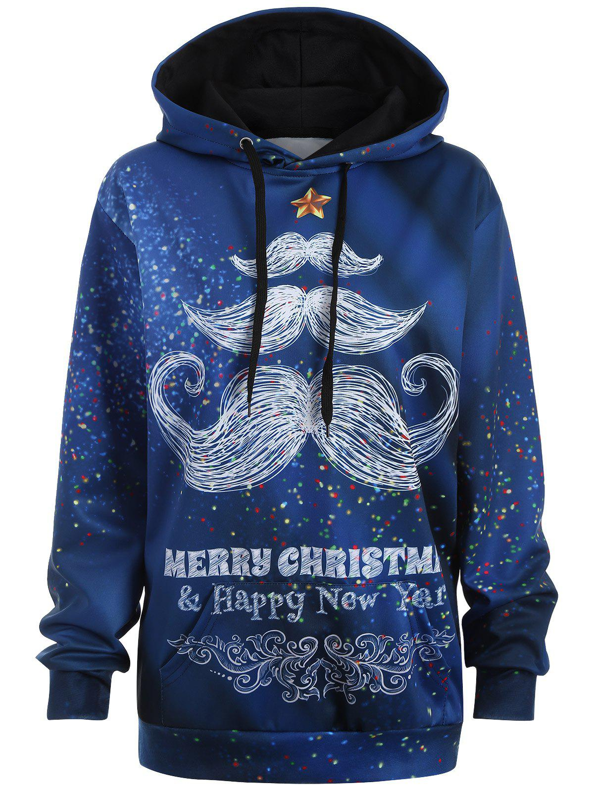 Plus Size Merry Christmas Mustache Hoodie - BLUE 3XL