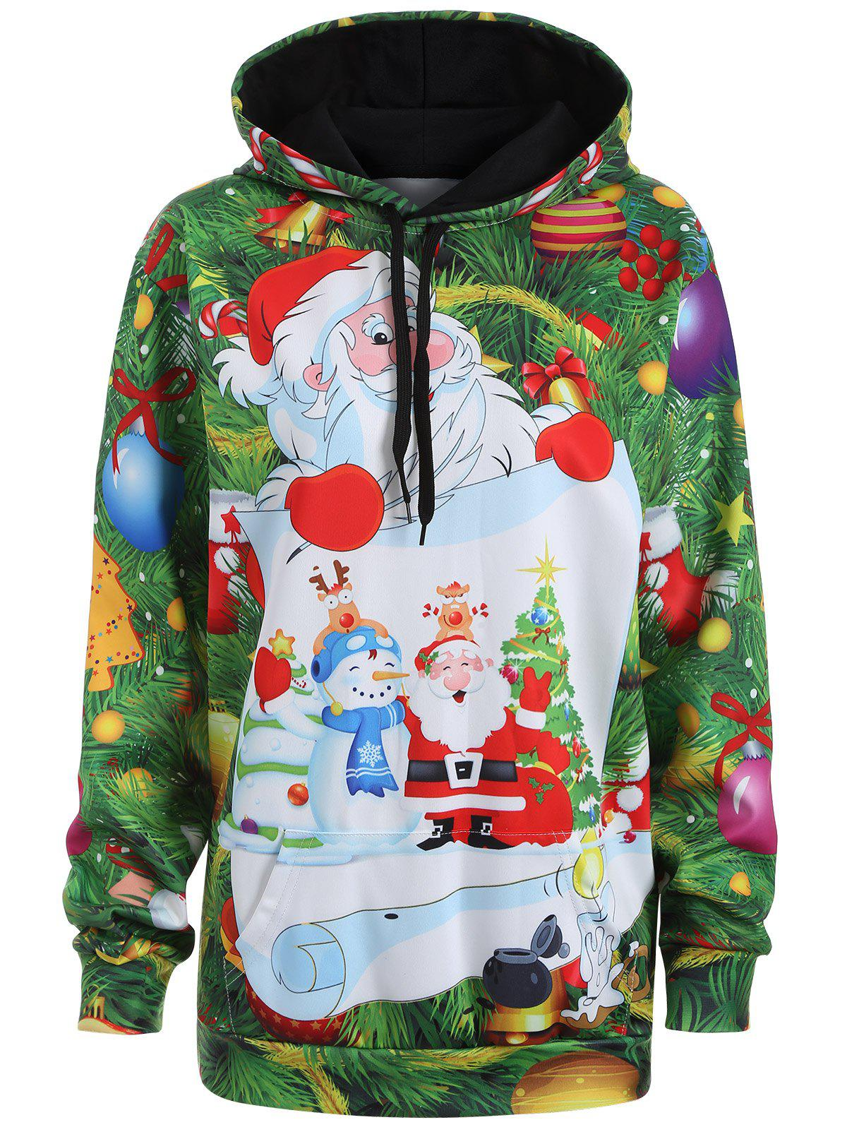 Plus Size Christmas Santa Claus Drawstring Tunic Hoodie plus size drawstring hoodie with christmas decoration print