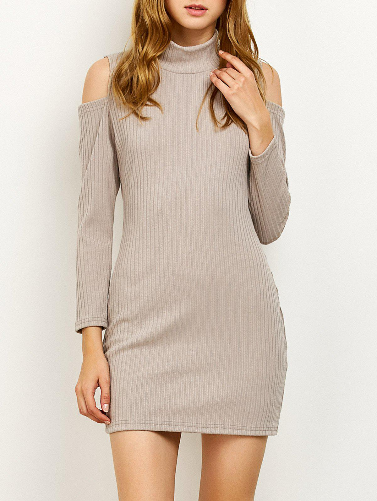Long Sleve High Neck Cold Shoulder Ribbed Bodycon Sweater Dress - GRAY S